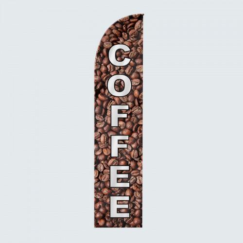 Coffee Beans Feather Flag White Text
