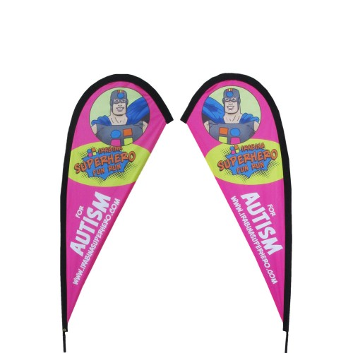 Teardrop Flag Set 250cm Standing Height - Double Sided