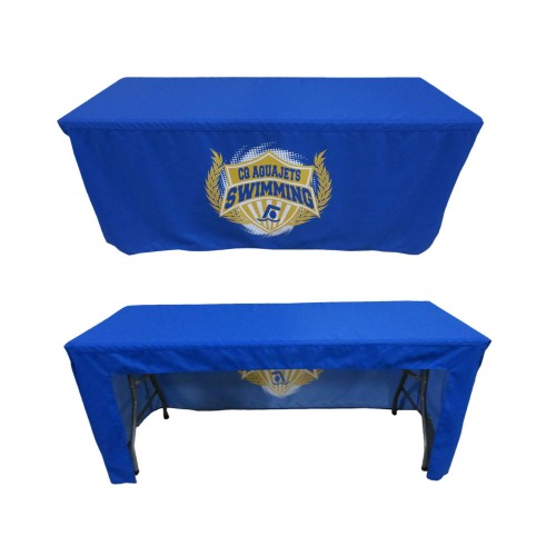 6ft Custom Printed Fitted Table Cover With Open Back