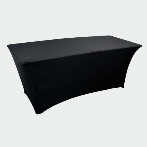 6ft Stretch Closed Back Table Cover - BLACK