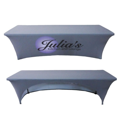 8ft Custom Printed Stretch Table Cover With Open Back