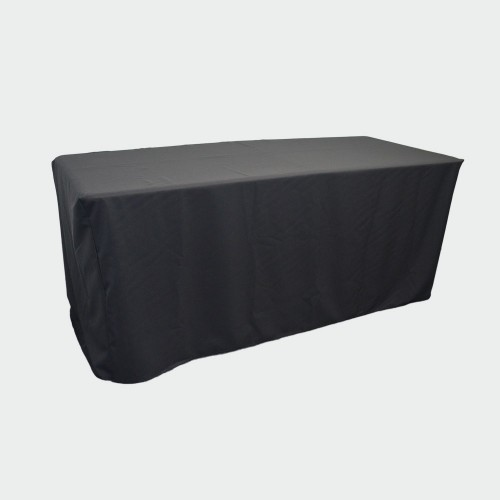 6ft Fitted BLACK Closed Back Table Cover