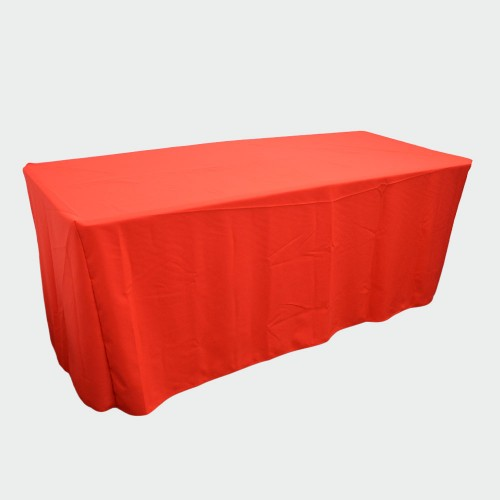 6ft Fitted RED Closed Back Table Cover