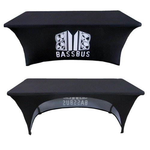 6ft Custom Printed Stretch Table Cover With Open Back