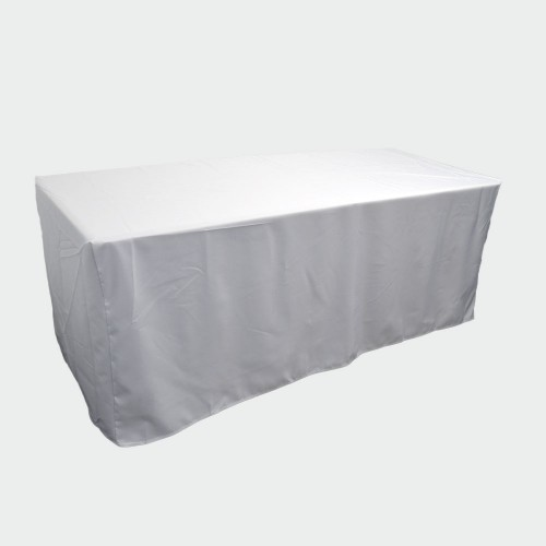 6ft Fitted WHITE Closed Back Table Cover